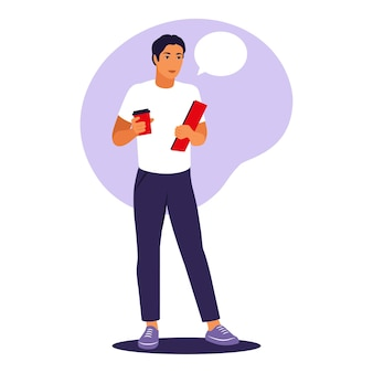 Mężczyzna stojący z filiżanką kawy i folderem. pracownik biurowy lub koncepcja pracy zdalnej. ilustracja wektorowa. mieszkanie.