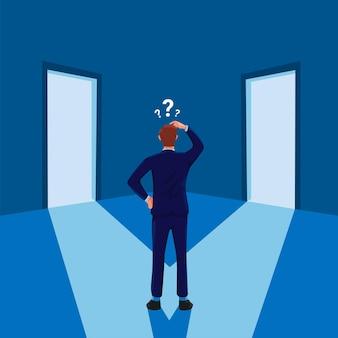 Mężczyzna stojący zdezorientowany przed dwojgiem drzwi biznesmen decyzja o karierze symbol ilustracji wektorowych