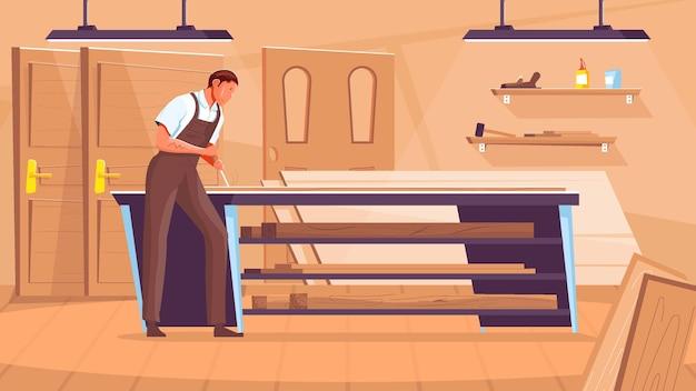 Mężczyzna stolarz pracujący w płaskim warsztacie produkcji drzwi