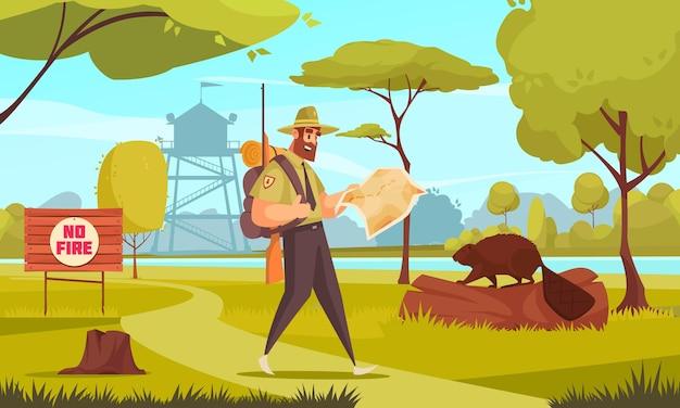 Mężczyzna strażnik leśny chodzący w drewnie z pistoletem i mapą kreskówki