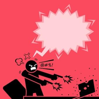 Mężczyzna strzelający dwoma pistoletami do komputera, ponieważ jest bardzo zły na laptopa.