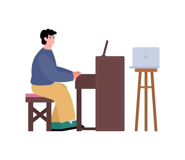 Mężczyzna studiuje fortepian poprzez lekcję online płaskiej ilustracji wektorowych na białym tle
