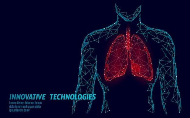 Mężczyzna sylwetka zdrowe płuca 3d medycyna model low poly.
