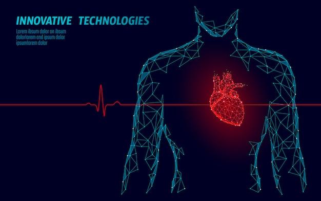 Mężczyzna sylwetka zdrowe serce bije 3d medycyna model low poly.