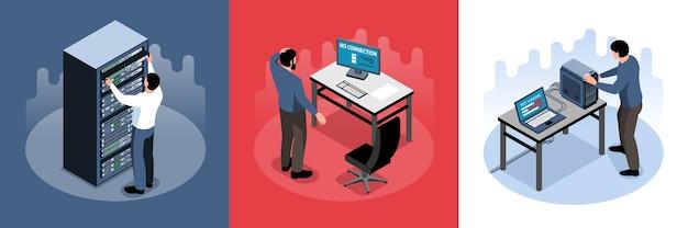 Mężczyzna sysadmin pracujący ze sprzętem komputerowym izometryczny koncepcja projektowania 3d ilustracja