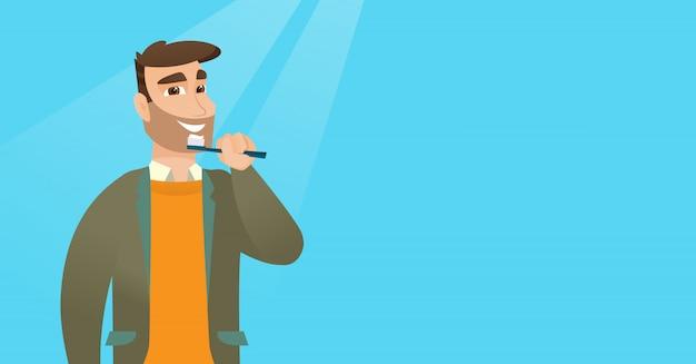 Mężczyzna szczotkuje zęby wektoru ilustrację.