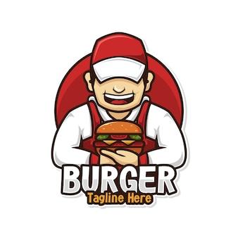 Mężczyzna szef kuchni logo żywności z maskotką burger