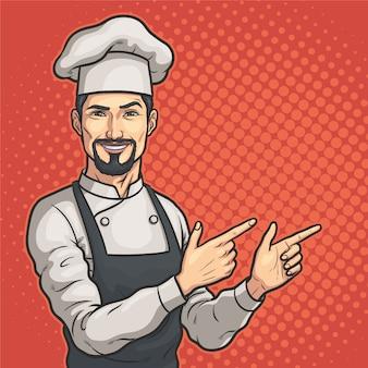 Mężczyzna szef kuchni pokazuje coś