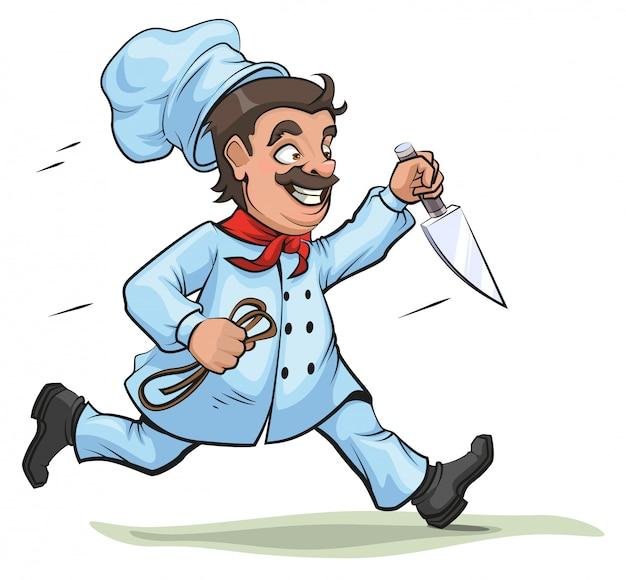 Mężczyzna szefa kuchni biegnie z nożem i liną