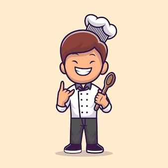 Mężczyzna szefa kuchni gotowanie ilustracja kreskówka