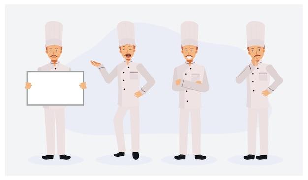Mężczyzna szefa kuchni płaski zestaw znaków z różnymi działaniami