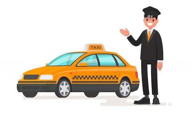 Mężczyzna taksówkarz z samochodem.