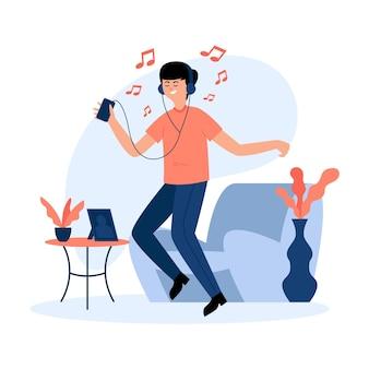 Mężczyzna tańczy i słucha muzyki