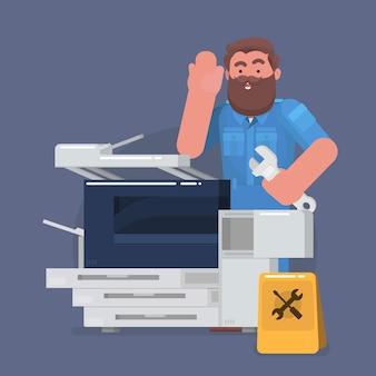 Mężczyzna technika konserwacji kserokopia maszyny