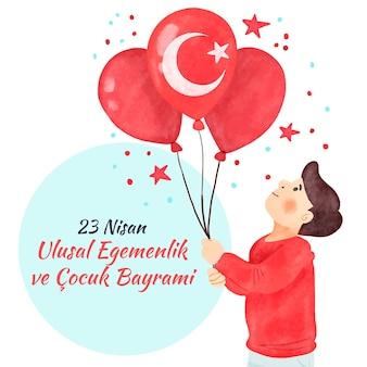 Mężczyzna trzyma balony z turecką flaga