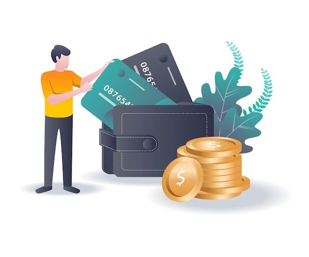 Mężczyzna trzyma bankomat i pieniądze w portfelu