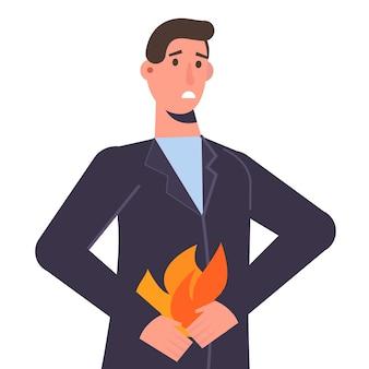 Mężczyzna trzyma brzuch. koncepcja problemów zgaga i żołądka. ilustracja wektorowa.