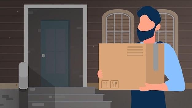 Mężczyzna trzyma duże pudełko. baner do domu dostawy paczki. koncepcja dostawy towarów, paczek i towarów w domu. wektor.