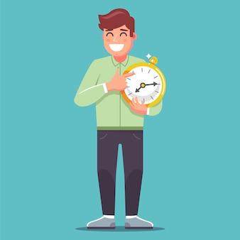 Mężczyzna trzyma duży złoty zegarek i wskazuje palcem na raz. ilustracja płaski charakter