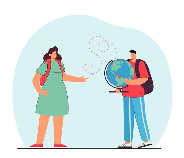 Mężczyzna trzyma glob i kobieta pokazuje punkt docelowy. przyjaciele planujący podróż płaską ilustracją