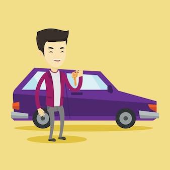 Mężczyzna trzyma klucze do jej nowego samochodu.