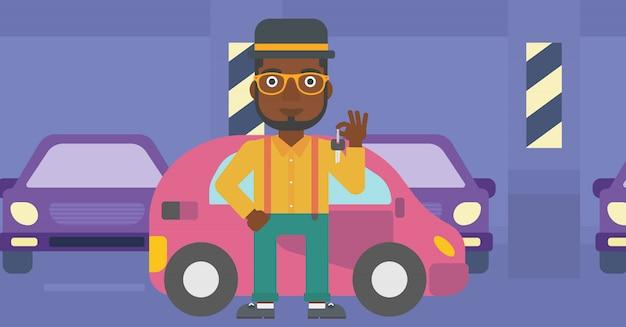 Mężczyzna trzyma klucze do swojego nowego samochodu.