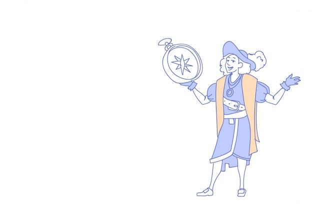 Mężczyzna trzyma kompas szczęśliwy dzień kolumba