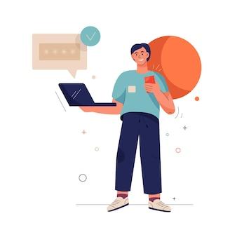Mężczyzna trzyma laptopa i wpisuje swój kod weryfikacyjny