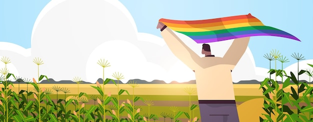 Mężczyzna trzyma lgbt tęczowa flaga wesoły lesbijka miłość parada duma festiwal transpłciowa koncepcja miłości krajobraz tło poziomy portret ilustracja wektorowa