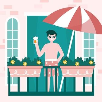 Mężczyzna trzyma napoju staycation pojęcie