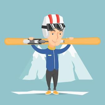 Mężczyzna trzyma narty wektoru ilustrację.