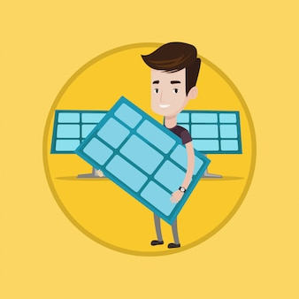 Mężczyzna trzyma panelu słonecznego wektoru ilustrację.