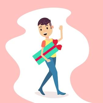 Mężczyzna trzyma pudełko obecne macha ręką wesołych świąt bożego narodzenia nowy rok wakacje płaskie kreskówka mężczyzna pełnej długości
