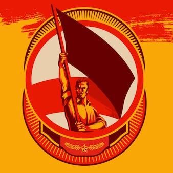 Mężczyzna trzyma pustą flaga wektorową odznaka ilustrację