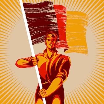 Mężczyzna trzyma pustą flaga wektoru ilustrację