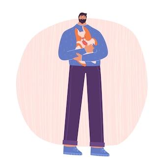 Mężczyzna trzyma w ramionach psa. miłość do psów. ilustracja