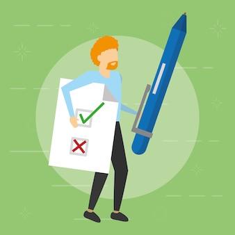 Mężczyzna, trzymając długopis i dokument, płaski