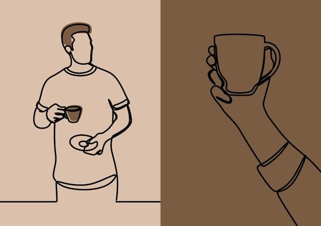 Mężczyzna trzymający filiżankę kawy w jednej linii ciągłej sztuki premium vector set