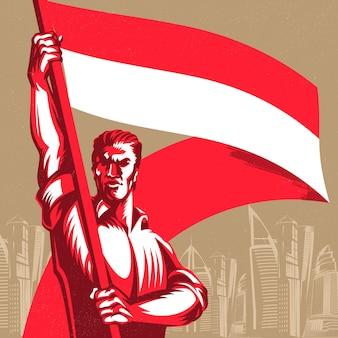 Mężczyzna trzymający flagę indonezji z dumą ilustracji wektorowych