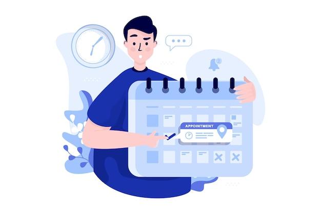 Mężczyzna trzymający kalendarz planowania dla koncepcji ilustracji spotkania
