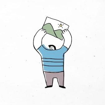 Mężczyzna trzymający obrazek ikona kreskówka