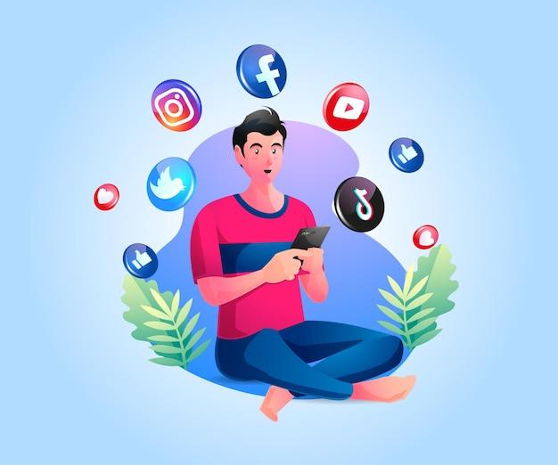 Mężczyzna Trzymający Smartfon I Korzystający Z Mediów Społecznościowych Premium Wektorów