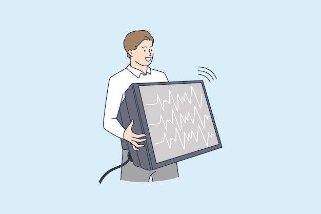 Mężczyzna trzymający telewizor z transmisją strumieniową na żywo