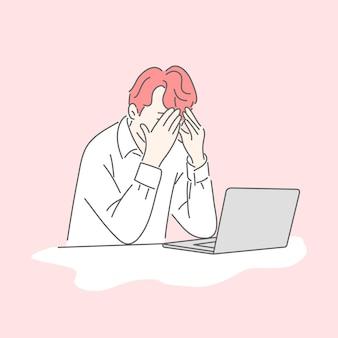 Mężczyzna trzymający twarz w smutnym stresie płacz w pracy