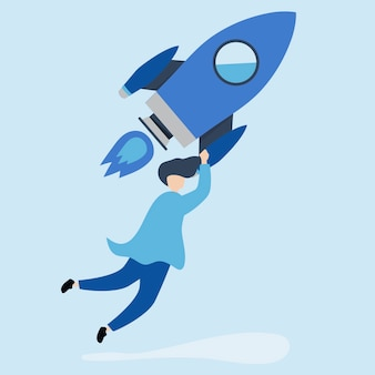 Mężczyzna trzymający wystrzeloną rakietę