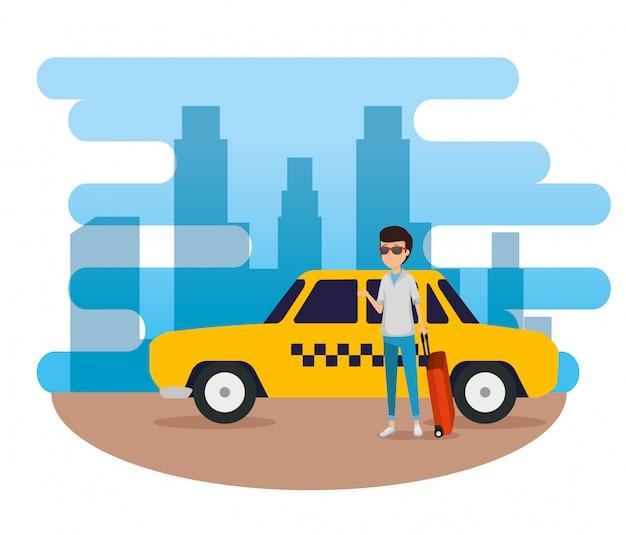 Mężczyzna turysta z walizką i samochodem taxi