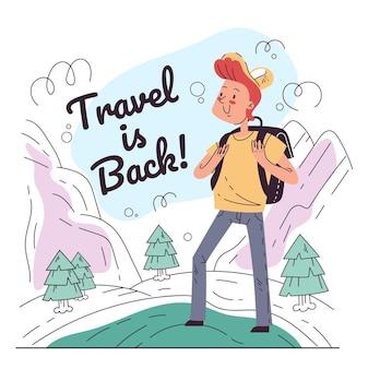 Mężczyzna turystyczny charakter patrząc na koncepcję podróży z powrotem w góry i przyrodę