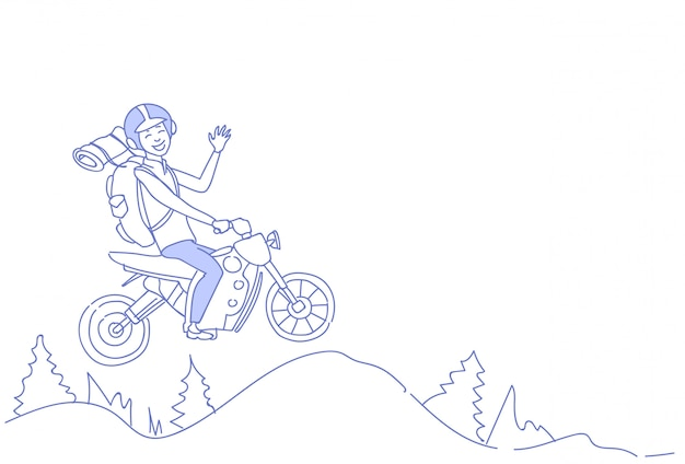 Mężczyzna turystyczny jazda skuterem góra krajobraz tło podróżnik plecak letnie wakacje szkic doodle poziome