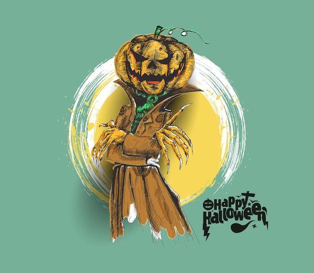 Mężczyzna ubrany jak dracula z głową dyni halloween, ręcznie rysowane szkic tło wektor.