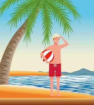 Mężczyzna ubrany w kostium plażowy z charakterem balonu plażowego